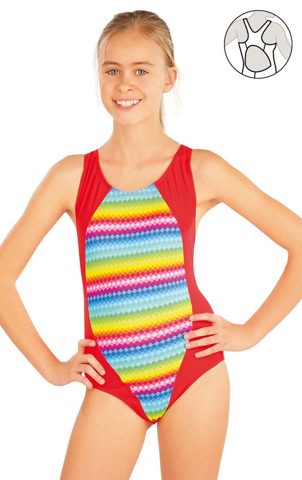 Dievčenské jednodielne športové plavky. 52612 | Dievčenské plavky LITEX