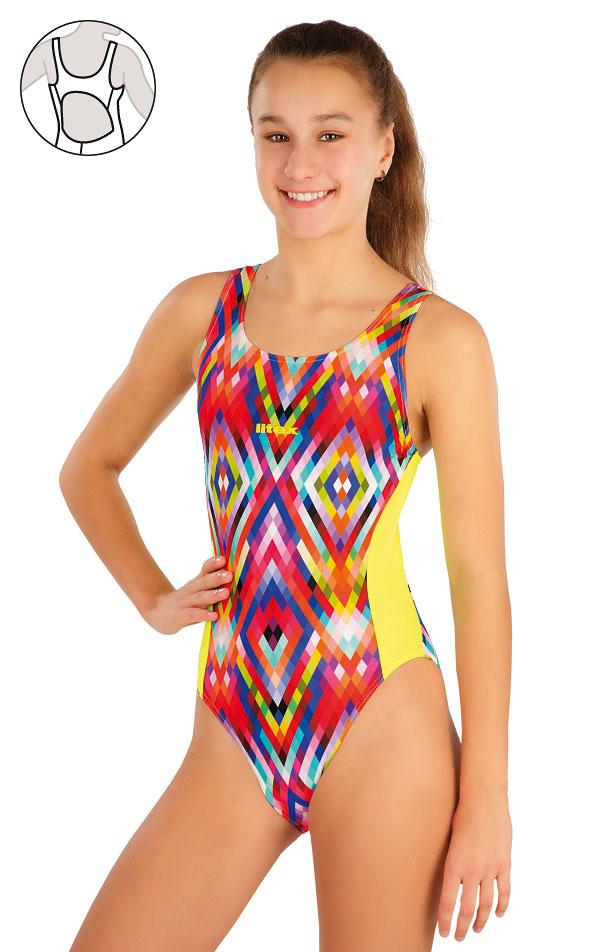 Dievčenské jednodielne športové plavky. 57569 | Dievčenské plavky LITEX