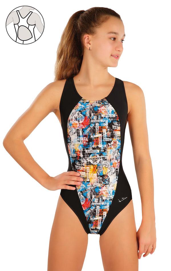 Dievčenské jednodielne športové plavky. 57586   Dievčenské plavky LITEX