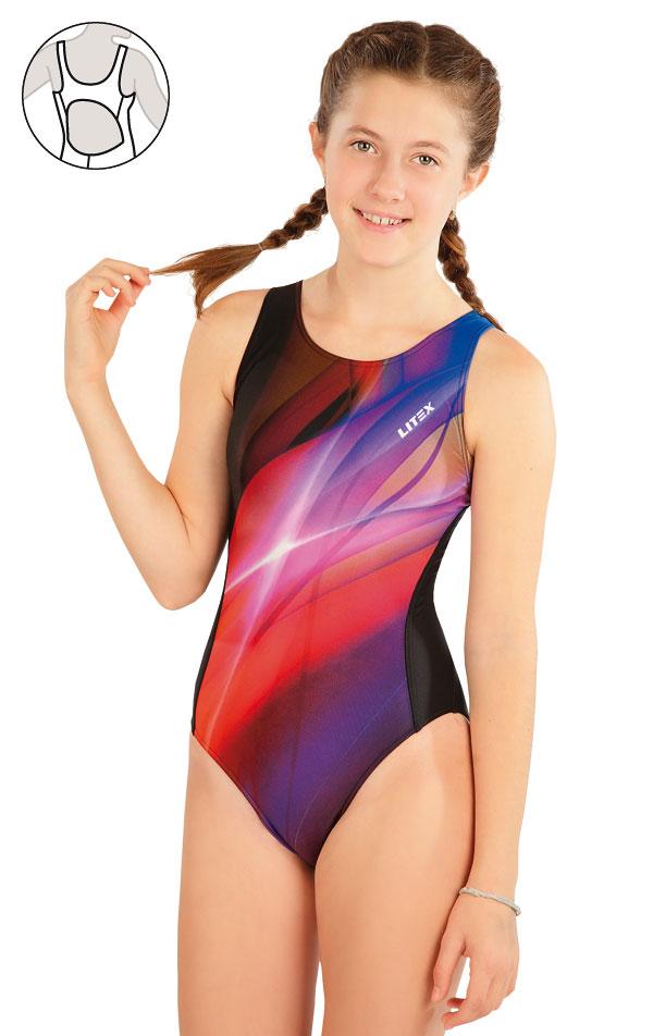 Dievčenské jednodielne športové plavky. 63646 | Dievčenské plavky LITEX
