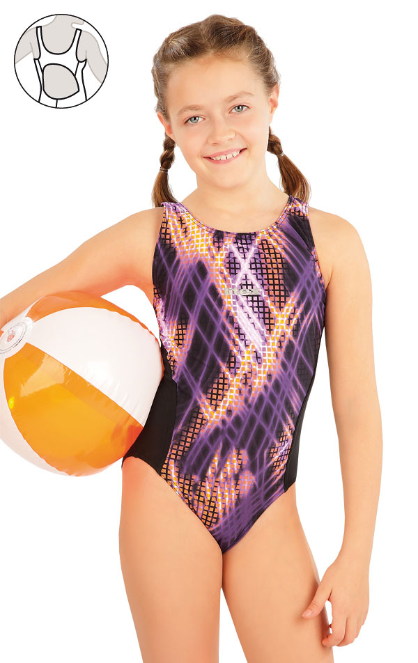 Dievčenské jednodielne športové plavky. 63649   Dievčenské plavky LITEX