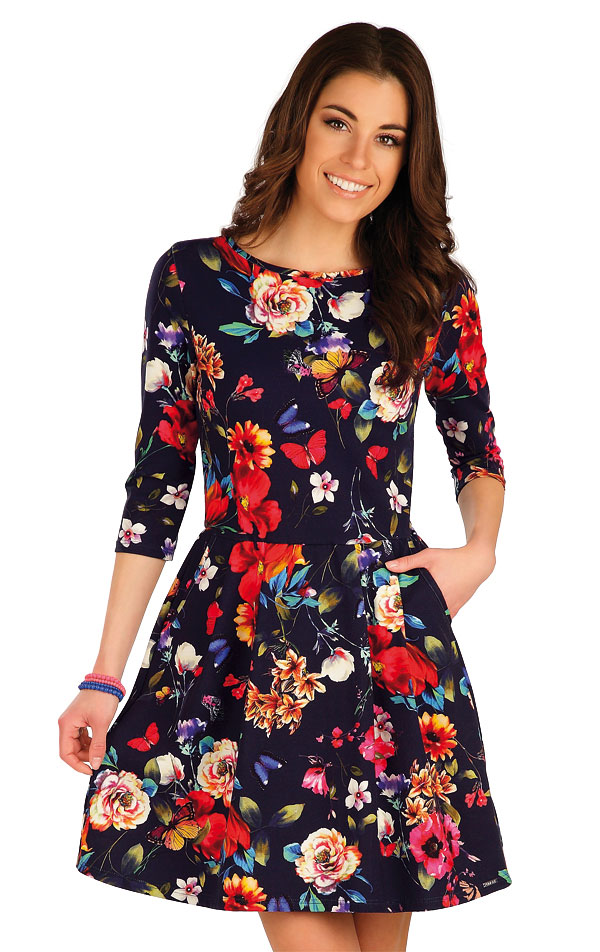 Šaty dámske s 3/4 rukávom. 7A008 | Šaty, sukne, tuniky LITEX